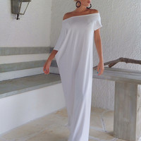 White Maxi Dress / White Kaftan / Asymmetric Plus Size Dress / Oversize Loose Dress / #35022