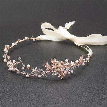 Handmade Couture Bridal Hair Headband with Hand Painted 14K Rose Gold Vines & Freshwater Pearls