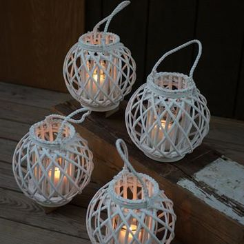 Set Of 4 Round White Willow Lanterns With Glass Insert - Large
