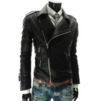 Black Zippered Long Sleeves Leather Coat