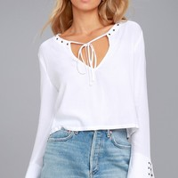 Lucky Ones White Long Sleeve Top