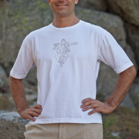 Cotton T-shirt for Men, Organic Yoga Wear, White - Island Importer