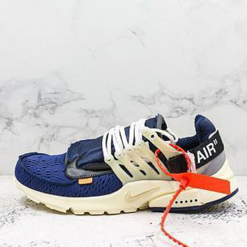 Off White X Nike Air Presto Navy White Running Shoes