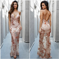 Condole belt v-neck backless sexy embroidered sequins vents of the dress