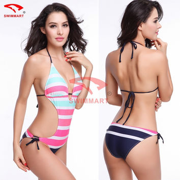 White One Piece Backless Sexy Bandage high cut one piece swimsuits Monokini