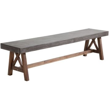 ZUO Modern Ford Bench Cement & Natural 703595 Dining Benches
