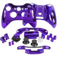 Purple Chrome (Transforming D-pad) Xbox 360 Controller Shell Full Assembly Housing (includes thumbsticks, RB/LB Bumpers, D-pad, Battery Pack, ABXY/Guide, repair parts)