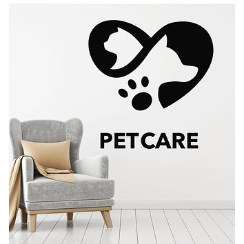 Vinyl Wall Decal Pet Care Love Friendship Animals Dog Cat Stickers Mural (g2617)
