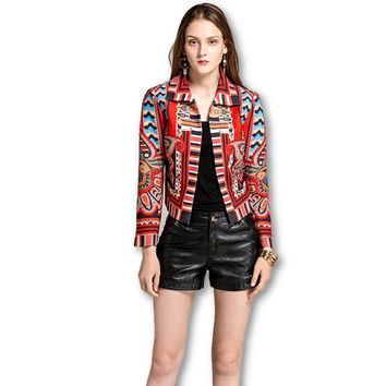 New Ethnic Jacket Fashion Geometric Print Turn-down Collar Full Sleeve Slim Jacket