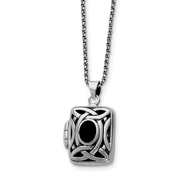 Sterling Silver Onyx & Marcasite Square Locket w/Chain