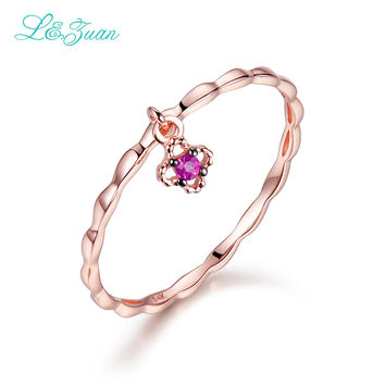 L&zuan Ruby Jewelry Rose Gold Natural 0.021ct Small Red Stone Flower Simple Party Ring Wedding Bands Fine Jewelry For Woman