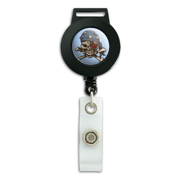 Pirate Skull Retractable Badge Card ID Holder