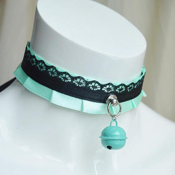 Premade Kitten play collar - Mint fairy - ddlg little girl lolita choker - kawaii cute fairy kei pastel green neko bell choker - nekollars