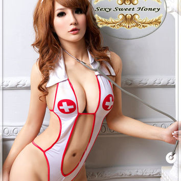 sexy underwear, lady's sexy lingerie ,Open Front Backless Costume Nurse Suit + Hat Set