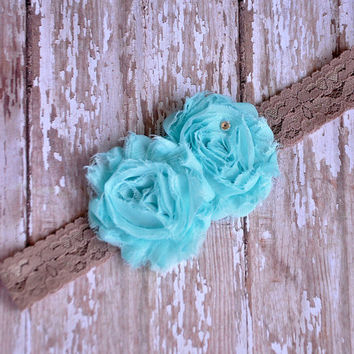 Shabby Chic Aqua flower headband - SALE- Cutie of the week