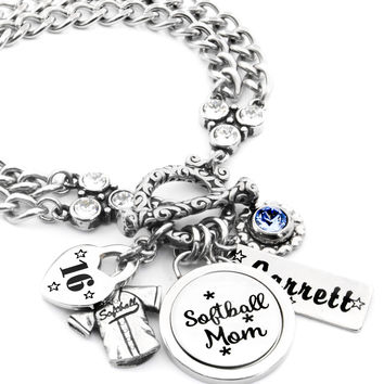 Softball Sports Mom Charm Bracelet
