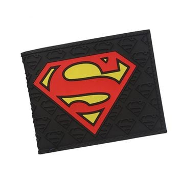 The Avengers MB Superman Wallet 3D Embossed Super Man Symbol Purse Men's Short PVC Wallet Billfold Money Bag Clip Comics Wallets