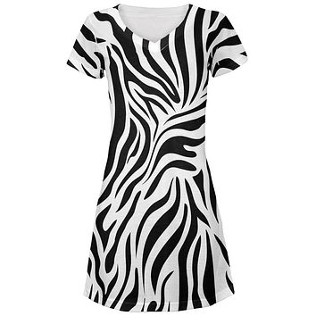 Zebra Print White Juniors V-Neck Beach Cover-Up Dress