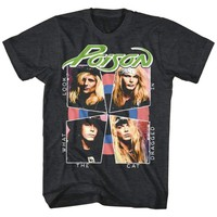 POISON-CAT DRAGGED IN-BLACK HEATHER ADULT S/S TSHIRT