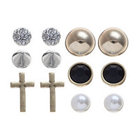 6 Pack Gold and Silver Simple Stud Earring Set