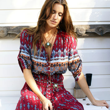Bohemian Boho Style Print Long Sleeve Button Down Front Slit Maxi Dress