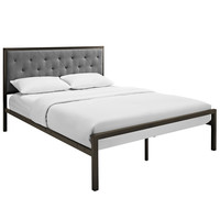 Mia Queen Fabric Platform Bed Frame in Brown Gray
