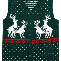 Humping Reindeer Games Holiday Sweater Vest in Green - Ugly Christmas Sweater