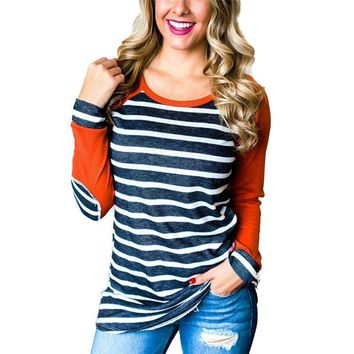 Women Casual Long Sleeve T Shirt Baseball Fashion Striped Patchwork O-Neck Top Spring 2018 Cotton Pullover Elbow Patch Plus Size