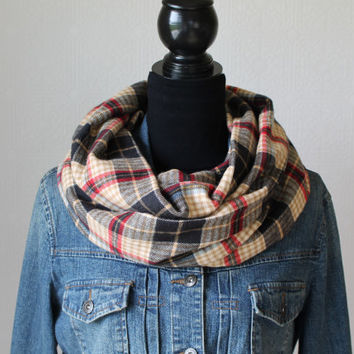 Plaid Infinity Scarf, Flannel Scarf, Tartan Plaid Scarf, Winter Scarf, Fall Scarf, Mens Scarf, Womens Scarf, Christmas Gift