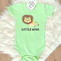 Lion Baby Bodysuit. Cute Baby Romper With Little King Lion Print. Baby Shower Gift. Modern Baby Clothes. Tribal Infant Clothing. Little King
