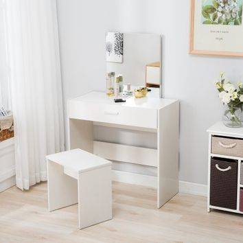 Mecor Vanity Makeup Table Set Dressing Table with Stool and Square Mirror,White - Walmart.com
