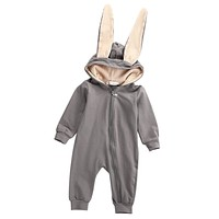 Winter Warm Newborn Baby Girl Boy Rabbit Ear Zipper Hooded Romper Jumpsuit  Outfits Clothes