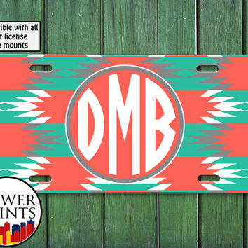 Aztec Style Pattern Monogram Custom Mint Coral Cute Initials Personalized For Front License Plate Car Tag One Size Fits All Vehicle Custom