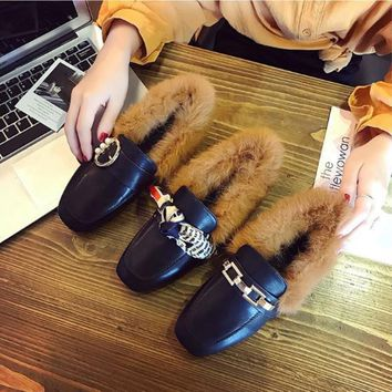 Women All-match Fashion Metal Pearl Bow Rabbit Hair Keep Warm Square-toe Leather Shoes Loafer Flats Shoes