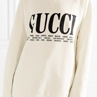 GUCCI Oversized printed cotton-terry sweatshirt