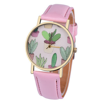 Fashion women watch 5 Color Leather Band Analog Round Mini cactus Pattern Quartz Vogue Wrist Watch