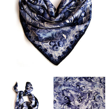 Vintage Italian Silk Scarf , Blue Soft Silk Scarf, abstract silk scarf , silk square scarf ,valentine gift