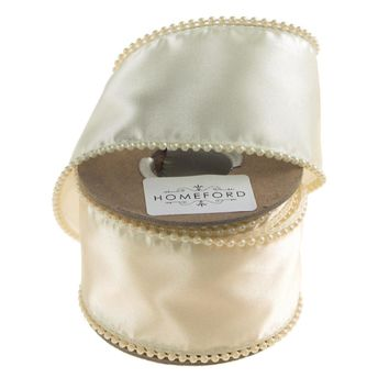 Ivory Pearls Edge Wired Satin Luxury Ribbon, 2-Inch, 5-Yard