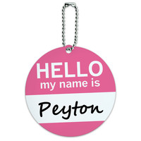 Peyton Hello My Name Is Round ID Card Luggage Tag