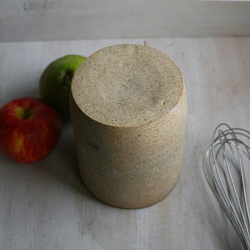 Rustic Speckled Stoneware Utensil Holder DISCOUNTED Second Ready to Ship Made in USA