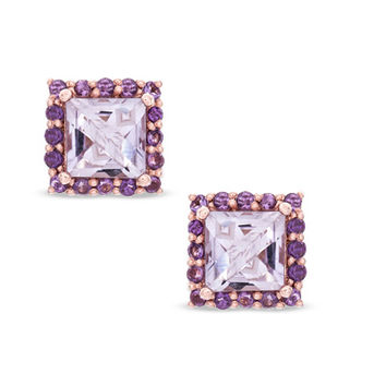 6.0mm Princess-Cut Rose de France and Purple Amethyst Earrings in Sterling Silver with 14K Rose Gold Plate