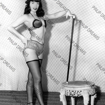 "Vintage Photograph of Burlesque Performer and Pinup Queen Bettie Page   8"" x 10"" re-print (Get Any 4 For 3)"