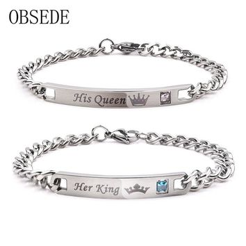 Cool OBSEDE Fashion Her King His Queen Couple Bracelets Silver Color Stainless Steel Crown Crystal Bangles for Women Men JewelryAT_93_12