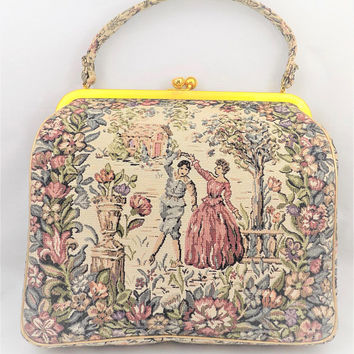 Tapestry Purse, JR Miami, Dusty Rose and Green, Dancing Couple in the Garden