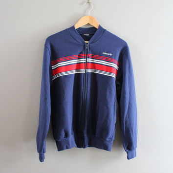 Adidas Zip Up Sweatshirt Cotton Adidas Bomber Jacket 3 Strips Fitted Sweatshirt Vintage Minimalist 90s Sweater Size S - M #T104A