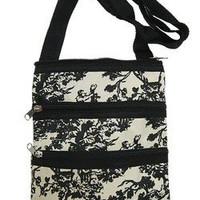 Small Hipster Cross Body Bag Purse Black Toile Print