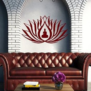 Vinyl Decal Lotus Flower Buddha Namaste Symbol Home Wall Art Removable Sticker Mural Yoga Zen Interior Decor Meditation Yoga Buddha East Eastern Art Bedroom Living Room Décor M25