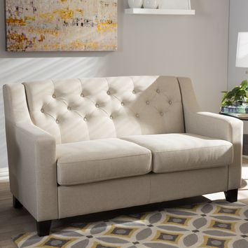 Baxton Studio Arcadia Modern and Contemporary Light Beige Fabric Upholstered Button-Tufted Living Room 2-Seater Loveseat Set of 1