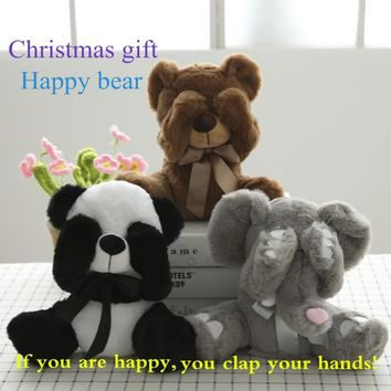 New Peek A Boo Animals Toy, Stuffed Animals & Plush Toy Bear / Panda /Elephant, Singing Baby Music Toys For Christmas Gift
