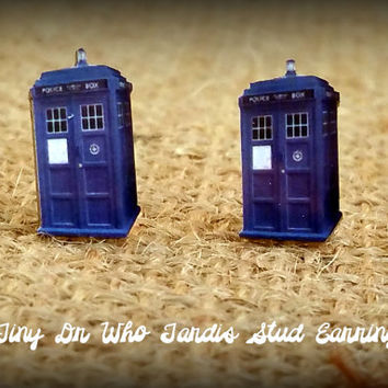 Dr Who Earrings - Tardis Earrings - Tardis Jewelry - Blue Tardis - Police Box - Dr Who Fan - Fandom - Dr Who - Fashion Studs - Costume